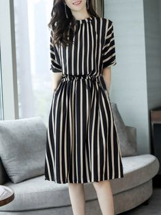 Round Neck Striped Skater Dress Fashion girls, party dresses long dress for short Women, casual summer outfit ideas, party dresses Fashion Trends, Latest Fashion # Trendy Dresses, Simple Dresses, Cute Dresses, Casual Dresses, Maxi Dresses, Cheap Dresses, Ladies Dresses, Simple Dress Casual, Daytime Dresses