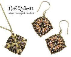 Maya Earrings & Pendant beaded pattern tutorial by Deb Roberti