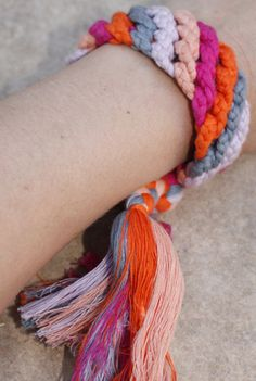 friendship bracelets, made with super thick cords :)