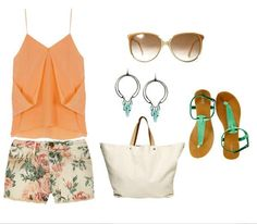 orange top and floral shorts and accessories to add your style ...