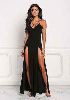 d029ce02e64d Black Two Slit Cross Strap Maxi Dress - Midi and Maxi - Dresses Nice  Dresses
