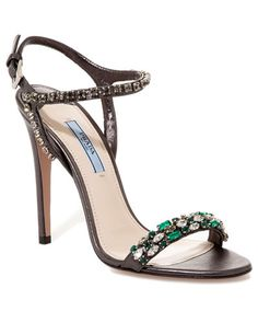 prada leather jeweled sandal
