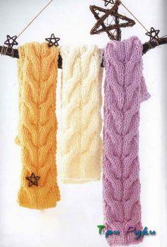 Готовимся к зиме:шарфик спицами — большая коса.