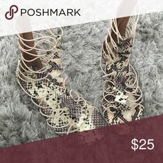 Gladiator snake print sandals Great conditions worn 3 times size 8 MIA girl  Shoes Sandals
