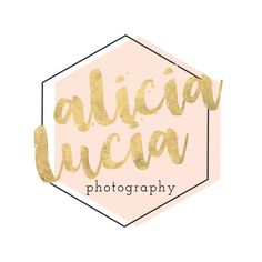 Trendy blush and gold geometric and brush script logo designed for wedding photographer Alicia Lucia Photography.