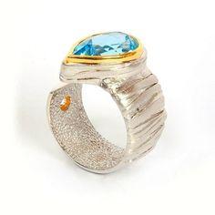 G.Kabirski | silver, gold and rhodium plated, topaz, flanite ring