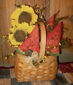 Watermelon, sunflowers and bee basket gathering by Olde Annie Primitives Prim Decor, Rustic Decor, Fabric Flowers, Paper Flowers, Yellow Sunflower, Primitive Crafts, Summer Crafts, Vintage Love, Seasonal Decor