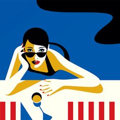 'Waiting For You in The Pool' portrait illustration by Malika Favre of luxe woman for luxury living in a Domain Hollywood home Rendezvous promotion Art And Illustration, Portrait Illustration, Vector Illustrations, Penguin Books, The New Yorker, Pop Art, Retro, Art Vintage, Arte Pop