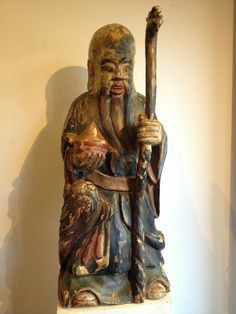 STATUE SAGE LAO TSEU CHINE DEBUT XXème S. WISE CHINESE SCULPTURE EARLY 20th C