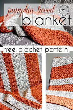Pumpkin Tweed Crochet Blanket Pattern for Fall! - by Rescued Paw Designs Crochet afghan Fall Pumpkin Blanket Crochet Pattern Crochet Afghans, Afghan Crochet Patterns, Crochet Stitches, Crochet Blankets, Crochet Hooks, Knitted Pillows, Dishcloth Crochet, Christmas Crochet Patterns, Baby Afghans