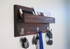 Key Rack and Mail Holder by MidnightWoodworks on Etsy