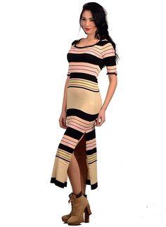 Bayan Triko Elbise Uzun 2293 Çizgili | Modelleri ve Uygun Fiyat Avantajıyla | Modabenle
