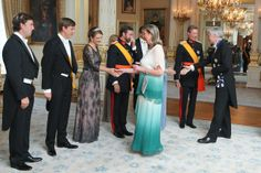 Hereditary Grand Duchess Stéphanie of Luxembourg at the 2014 National Day gala reception, wearing a new diamond tiara and a Collection 8 lace beaded dress