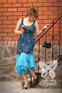 """Купить Платье """"Шарман"""" - тёмно-бирюзовый, вязанное платье, ирландское кружево, вечернее платье"""