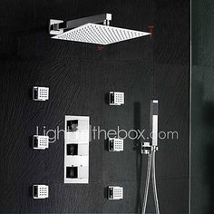 "Brass Thermostatic Shower Valve Stainless Steel 12"" Square Wall Mounted Rain Bathroom Shower Faucet Spa Body Massage - INR Rs22,450 ! HOT Product! A hot product at an incredible low price is now on sale! Come check it out along with other items like this. Get great discounts, earn Rewards and much more each time you shop with us!"