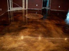Great floor staining idea for bar area
