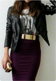 """OUTFIT: ❌Gold Metal Belt, ✔Leather Plum Pencil Skirt, ✔""""Born in the USA"""" Printed Tee, ✔Jacket (Bloch, Black, 2014)"""