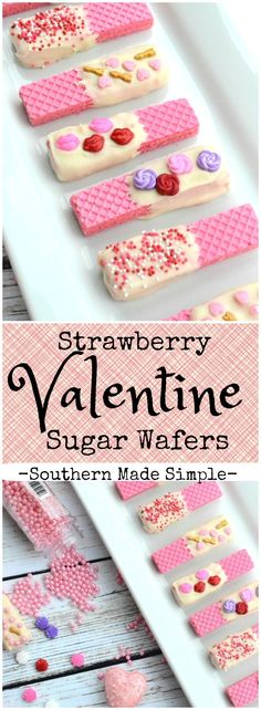Strawberry Valentine Sugar Wafers Looking for a quick, easy and delicious little Valentine treat to share with others? These strawberry white chocolate dipped sugar wafers are super fun and totally delish! Valentine Desserts, Valentine Chocolate, Little Valentine, Valentine Cookies, Valentines Day Treats, Valentine Day Crafts, Holiday Desserts, Holiday Treats, Kids Valentines