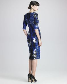 Erdem Sophia Elbowsleeve Lace Applique Dress