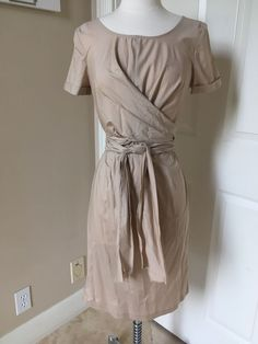 dd96edab188 NWT Talbots beige wrap cotton dress size 6  139  fashion  clothing  shoes