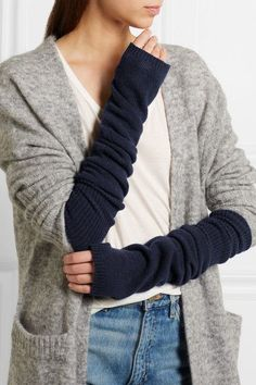 The Elder Statesman - Wool And Cashmere-blend Arm Warmers - Navy - One size