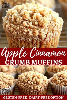 Soft and moist apple cinnamon muffins with abrown sugar crumb topping. The recipe also includes a dairy-free option.Recipe from www.mamaknowsglut - Muffins - Ideas of Muffins Muffins Sans Gluten, Cookies Sans Gluten, Dairy Free Muffins, Dessert Sans Gluten, Bon Dessert, Gluten Free Sweets, Dessert Recipes, Apple Recipes Gluten Free, Vegan Apple Muffins