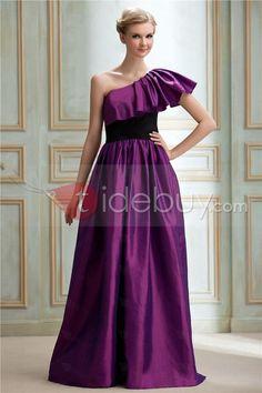 Aラインワンショルダーひだ飾り床まで届く長さビクトリアのブライズメイドドレス