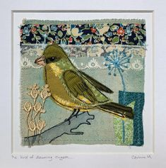 Fabric Art Textile Collage Greenfinch Whimsical Bird Art | Etsy Freehand Machine Embroidery, Hand Embroidery, Nativity Characters, Greenfinch, Fairy Dolls, Bird Art, Fabric Art, Textile Art, Vintage World Maps