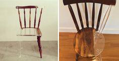 """Como parte de suasérie """"My Old New Chair"""" a artista plástica Tatiane Freitas recupera peçasde madeira substituindo as partes faltantes com acrílico. A prática é inspirada na técnica japonesa de kintsugi. Você pode acompanhar mais do trabalho da artista através de seu site ou por sua conta no Instagram.       (...)"""