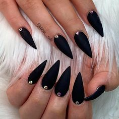 27 Matte Black Nails That Will Make You Thrilled 27 Matte Black Nails That Will. - 27 Matte Black Nails That Will Make You Thrilled 27 Matte Black Nails That Will Make You Thrilled Black Nail Designs, Winter Nail Designs, Acrylic Nail Designs, Nail Art Designs, Nails Design, Black Manicure, Matte Black Nails, Black Almond Nails, Acrylic Nails Stiletto