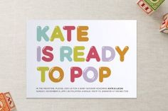 """Ready To Pop"" Balloon Letter Baby Shower Invite"