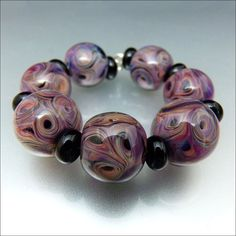 INNER DEPTH  Multicolour and Black Glass Bead by beadsbystephanie, $48.00
