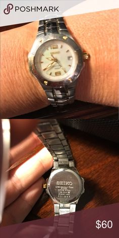 Seiko mother of pearl silver and gold watch. Seiko mother of pearl silver with gold watch. Needs a battery. Fits a 6.5 inch wrist. No extra links. Seiko Jewelry