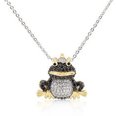 18k Gold Plated Jet Black and White Cubic Zirconia Frog Prince Pendant with 18 Inch Chain Included Polished into a Lustrous Goldtone Finish