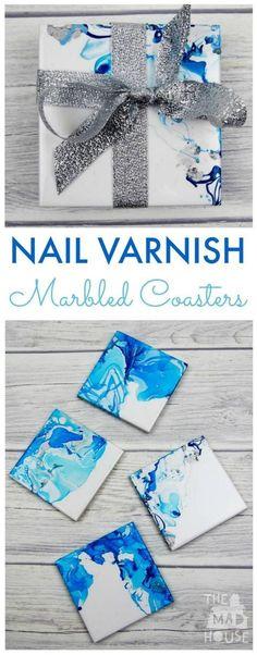 How to make Nail Varnish Marbled Coasters. These beautiful marbled coasters are beautiful as so simple to make. A great homemade gift and DIY craft: