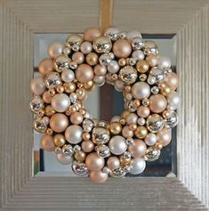 DIY:: Vintage Christmas Ornament Wreath - I would like to do this with old Christmas ornaments Holiday Door Wreaths, Christmas Ornament Wreath, Noel Christmas, Vintage Christmas Ornaments, Winter Christmas, Christmas Crafts, Christmas Decorations, Bauble Wreath, Classy Christmas