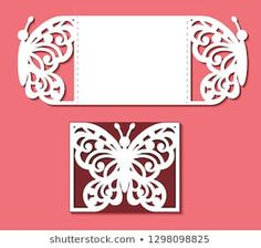 Card with butterfly for wedding, Valentines, gate fold invitation, greeting, save the day. Pattern on the ornate lace insect on red background. Stencil Rosa, Rose Stencil, Cricut Wedding, Wedding Cards, Diy Crafts For Gifts, Paper Crafts, Cajas Silhouette Cameo, Butterfly Invitations, Pop Up Invitation