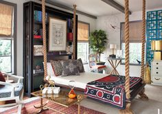 Eclectic Master Bedroom Come find more on Zillow Digs! Custom Roman Shades, Red Sofa, Beautiful Bedrooms, Outdoor Furniture, Outdoor Decor, Master Bedroom, Toddler Bed, Interior Design, Home Decor