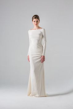 Colmar   Anne Barge   Spring 2016 Collection. Elegant column dress of silk crepe with bateau neckline and long sleeves.