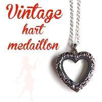 Ketting met magnetisch 'floating' medaillon - Vintage hart