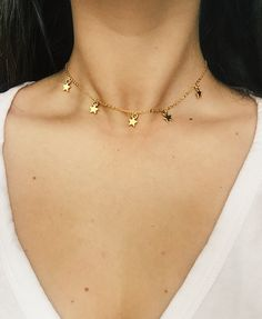Bohemain Gold Star Choker gold plated chain by designsbyilla