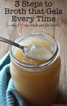 """You already know the amazing benefits of bone broth. So how do you get it to """"gel"""" - signifying that it has lots of gelatin in it? Here are my 3 steps to bone broth that gels every time, plus why I love my Crock Pot for bone broth! Making Bone Broth, Bone Broth Soup, Bone Broth Crockpot, Chicken Bone Broth Recipe, Instapot Bone Broth, Best Bone Broth Recipe, Slow Cooker Bone Broth, Chicken Broth Recipes, Homemade Bone Broth"""