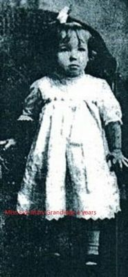 Eva Mary Grandidge Ship: RMS Lusitania Passenger: 2nd class Nationality: British Residence: Yonkers, New York New York United States Death: May 7, 1915 2:10 pm Cause: Lusitania sinking (body recovered and buried in Old church cemetery in Cobh, Cork Ireland) Age: 3 years