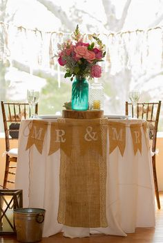 Mr. & Mrs. Burlap Pennant Banner for Rustic Theme Wedding via Etsy