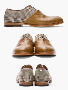 MAISON MARTIN MARGIELA // Tan Leather & Prince of Wales Check #Oxfords