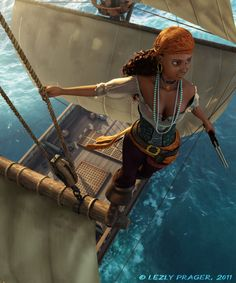 Nalia : New version by Zlydoc on DeviantArt Pirate Boats, Pirate Art, Pirate Woman, Pirate Life, Character Portraits, Character Art, Character Design, High Fantasy, Fantasy Rpg