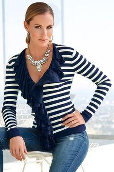 Nautical ruffle cardigan #BostonProper #25%Off #Sweaters
