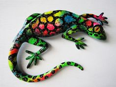 Reptile art wall decor whimsical  lizard sculpture. $20.00, via Etsy.