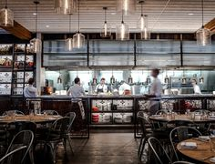 Open Kitchen reference - display shelving with lighting and tile; railing dividers CBD Provisions restaurant in downtown Dallas Design Despace, Layout Design, Open Kitchen Restaurant, Kitchen Pass, Restaurant Restaurant, Marina Restaurant, Restaurant Offers, Restaurant Branding, Cafe Bar