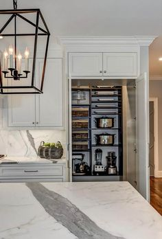 Concealed Walk In Pantry - Design photos, ideas and inspiration. Amazing gallery of interior design and decorating ideas of Concealed Walk In Pantry in kitchens by elite interior designers. Kitchen Butlers Pantry, Kitchen Appliance Storage, Kitchen Pantry Design, Kitchen Cabinet Organization, Kitchen Cabinet Doors, Butler Pantry, Kitchen Cabinets, Kitchen Ideas, Cabinet Ideas